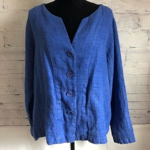 FLAX 100% Linen Blue Cardigan Jacket Lagenlook M